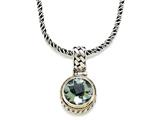 Silver and 18kt Yellow Gold Genuine Green Amethyst Necklace by Effy Collection®