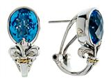 Balissima By Effy Collection Sterling Silver and 18k Gold Fleur de Lis 10x8 mm Blue Topaz Earrings style: 520247
