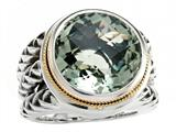Balissima By Effy Collection Sterling Silver and 18k Yellow Gold Green Amethyst Ring