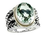 Balissima By Effy Collection Sterling Silver and 18k Yellow Gold Green Amethyst Ring style: 520345