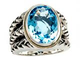 Balissima By Effy Collection Sterling Silver and 18k Yellow Gold Blue Topaz Ring