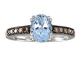 Effy Collection 14k White Gold Brown Diamond And Aquamarine Ring style: 520393