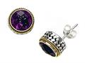 Silver and 18kt Yellow Gold Genuine Amethyst Earrings by Effy Collection
