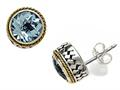 Silver and 18kt Yellow Gold Genuine Blue Topaz Earrings by Effy Collection®