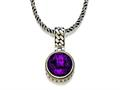 Silver and 18kt Yellow Gold Genuine Amethyst Necklace by Effy Collection
