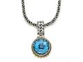 Silver and 18kt Yellow Gold Genuine Blue Topaz Necklace by Effy Collection