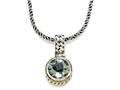 Silver and 18kt Yellow Gold Genuine Green Amethyst Necklace by Effy Collection
