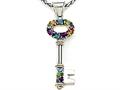 Large Sterling Silver and 18kt Multi Color Key Pendant with Amethyst, Blue Topaz, Citrine and Peridot by Effy Collection