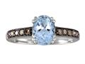 Effy Collection 14k White Gold Brown Diamond And Aquamarine Ring