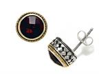 Silver and 18kt Yellow Gold Genuine Garnet Earrings by Effy Collection Style number: 520133