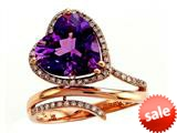 Effy Collection 14k Rose Gold Diamond and Amethyst Ring style: 520219