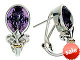 Balissima By Effy Collection Sterling Silver and 18k Yellow Gold Fleur de Lis Amethyst Earrings style: 520246