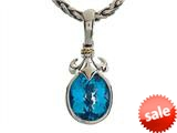 Balissima By Effy Collection Sterling Silver and 18k Yellow Gold Fleur de Lis Blue Topaz Pendant Necklace style: 520307