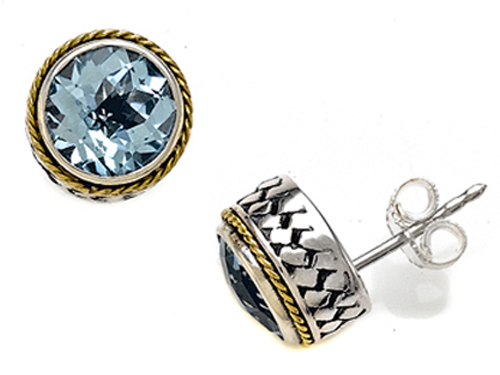 Effy Collection 4.75 cttw Silver and 18kt Yellow Gold Genuine Blue Topaz Earrings by Effy Collection at Sears.com