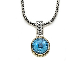 Silver and 18kt Yellow Gold Genuine Blue Topaz Necklace by Effy Collection(r)