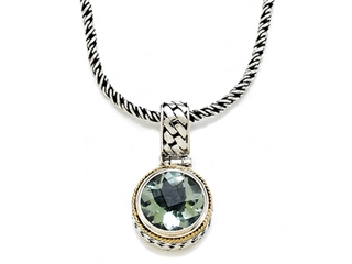 Silver and 18kt Yellow Gold Genuine Green Amethyst Necklace by Effy Collection(r)