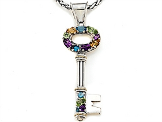 Large Sterling Silver and 18kt Multi Color Key Pendant with Amethyst, Blue Topaz, Citrine and Peridot by Effy Collection peridot pendant