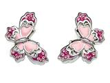 "Pink Enamel Sterling Silver Butterfly Earrings with Pink CZ""s style: BEC0810"