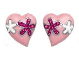 Pink Enamel Sterling Silver Earrings with Pink CZ`s
