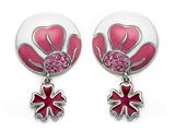 Pink and White Enamel Sterling Silver Earrings with Pink CZ`s and a Dangling Clover Charm