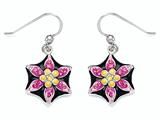 Black, Pink, and Yellow Enamel Sterling Silver Earrings with Pink CZ`s