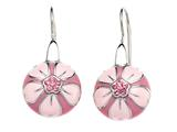 "Pink Enamel Sterling Silver Earrings with Pink CZ""s style: BEC1080"