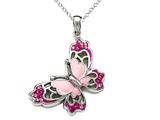 "Pink Enamel Sterling Silver Butterfly Pendant with Pink CZ""s style: BPC1134"