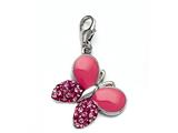 Pink Enamel Butterfly Charm with Pink CZ`s for Charm Braclelet or Smartphone using our Smartphone Plug Adaptor