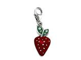Red and Green Enamel Strawberry Charm with Green CZ`s for Charm Braclelet or Smartphone using our Smartphone Plug