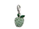 "Green Enamel Apple Charm with Green CZ""s for Charm Braclelet or Smartphone using our Smartphone Plug A style: BPC1352"