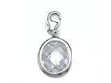 April Simulated Birthstone Small Oval Shape Charm for Charm Braclelet or Smartphone using our Smartphone Plug Adaptor