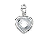April Simulated Birthstone Heart Shape Charm for Charm Braclelet or Smartphone using our Smartphone Plug Adaptor