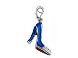 "Blue and Red Enamel High Heel Shoe Charm with White CZ""s for Charm Braclelet or Smartphone using our Smartphone Plug style: BPC1780"