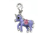 "Purple and Pink Enamel Pony Charm with Pink CZ""s for Charm Braclelet or Smartphone using our Smartphone Plug style: BPC1914"