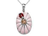 Pink Enamel Sterling Silver Pendant with Orange CZ`s and Ladybug