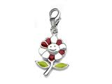 Red and Green Enamel Flower Charm for Charm Braclelet or Smartphone using our Smartphone Plug