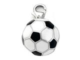 Black and White Enamel Soccer Ball Bracelet Charm or Smartphone using our Smartphone Plug style: BPP1877