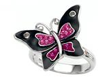 "Black and Pink Enamel Sterling Silver Butterfly Ring with Pink CZ""s style: BRC1483"