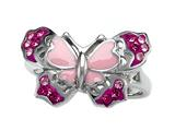 "Pink Enamel Sterling Silver Butterfly Ring with Pink CZ""s style: BRC1489"