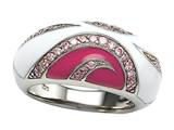 Pink and White Enamel Sterling Silver Ring with Pink CZ`s
