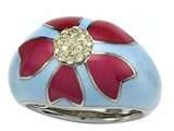 Blue and Pink Enamel Sterling Silver Ring with Yellow CZ`s