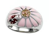 Pink Enamel Sterling Silver Ring with Orange CZ`s and Ladybug