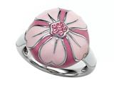 Pink Enamel Sterling Silver Ring with Pink CZ`s