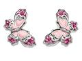 "Pink Enamel Sterling Silver Butterfly Earrings with Pink CZ""s"