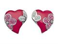 "Pink Enamel Sterling Silver Earrings with White and Pink CZ""s"