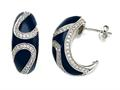 "Blue Enamel Sterling Silver Earrings with White CZ""s"