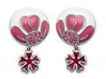 "Pink and White Enamel Sterling Silver Earrings with Pink CZ""s and a Dangling Clover Charm"