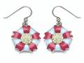 Blue and Pink Enamel Sterling Silver Earrings with Yellow CZ`s