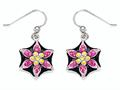 "Black, Pink, and Yellow Enamel Sterling Silver Earrings with Pink CZ""s"