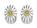 "White Enamel Sterling Silver Earrings with Yellow CZ""s"
